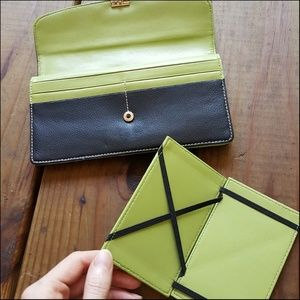 Handbags - Genuine Leather Black & Lime Green Long Wallet